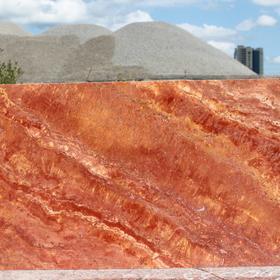 Травертин IRAN RED плита полированная размером 600х300х20 мм